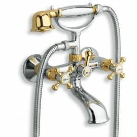 SANDRI Robinetterie rétro Inverseur bain douche avec flexible et douchette chromé
