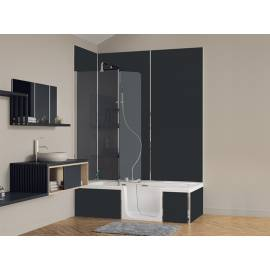 KINEDO DUO PACK DESIGN 2 (AVEC TABLIERS KINEWALL DESIGN) COMBINE DOUCHE/BAIN 180x80 cm INSTALLATION EN ANGLE TETE A GAUCHE